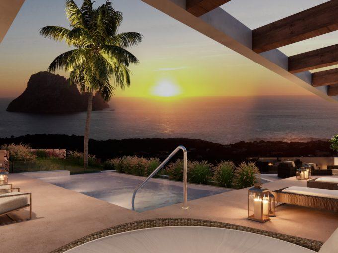villas à vendre Es Vedra Ibiza vue mer avec piscine